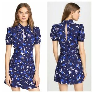 SELF-PORTRAIT Floral Puff Sleeve Jersey Mini Dress